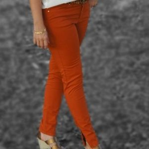 Zara Basic Vintage Deluxe Burnt Orange Ankle Jeans